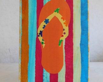Flip Flop Fabric Postcard