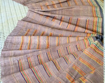 Vintage Hmong Hemp Fabric Handmade Brown Stripe textile hilltribe folk craft supplies