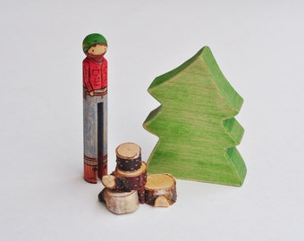 Long Legged Woodsman and Tree Play Set - Waldorf Inspired