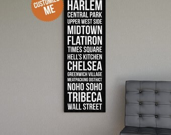 CUSTOM Subway Style Wall Art - Gallery Wrapped Canvas Print.  Subway Art. Custom Sign.  Custom Wall Art.  Personalized Art.