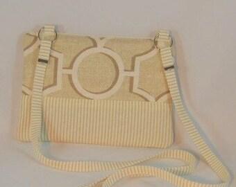 Beige and cream Geometric Cotton Twill, Cross Body Cellphone Purse