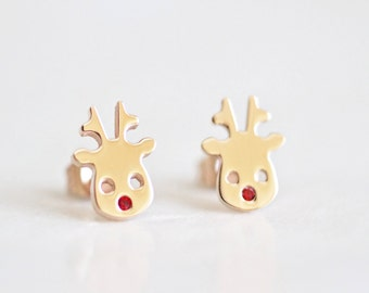 Reindeer, Rose Gold, Rudolph Red Nosed Reindeer, Christmas Gifts, Christmas Stud Earrings, Christmas Jewelry, Gift For Her, Gift For Women