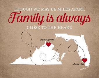 Parents Gifts, Gift for Mom and Dad on Christmas, Birthday, Choose Any Two Maps, Virginia, Florida, Retirement Gift, Moving Family | WF482