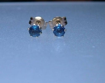 Natural Sapphire Stud Earrings 0.35ct 14kt Yellow Gold September Birthstone