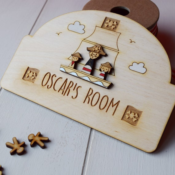 Personalised Pirate door sign - boys door plaque - pirates - boys gift
