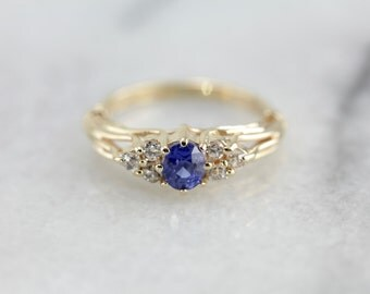Sapphire and Diamond Anniversary Ring, Alternative Style Engagement Ring  VRHW7N-P
