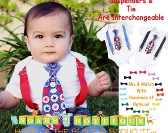 Baby Boy 4th of July Outfit - Patriotic Clothes - Toddler - Newborn - First 4th of July - Fourth of July Outfit - Tie And Suspenders - Stars