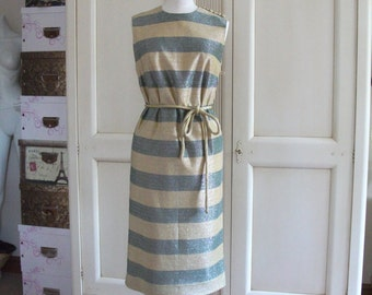 1960s Metallic Column Shift Dress By Blanes