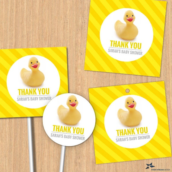 Rubber Ducky Baby Shower Thank You Images Editable PDF Instant - Custom vinyl decal application instructions pdfapplication etsy