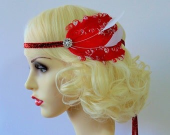20s Flapper Headband Red and White Feather Headpiece 1920s Fascinator Gatsby Art Deco Diamante Crystal Pearl Glitter Velvet Ribbon Ties