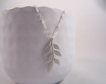 Chain Necklace Sterling Silver - Branch and Leaves