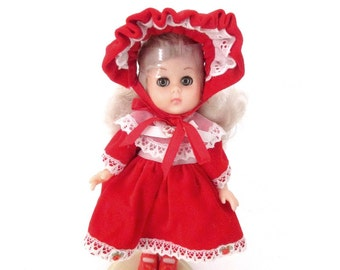 Vintage Vogue GINNY Doll. 1980's Ginny Doll in Red Velveteen Dress and Hat. Vintage Doll