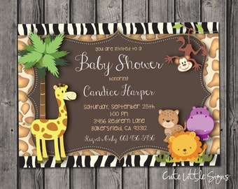 Jungle Animals Baby Shower Invitation Digital Download