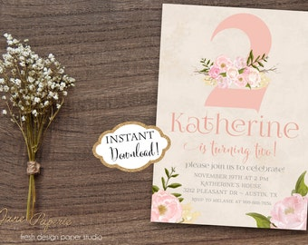 INSTANT DOWNLOAD - Pink Floral Boho Tribal Birthday Party Invitation - Turning Two - Second Birthday - Boho Birthday - Floral Invitation