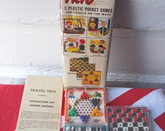 Vintage Travel Trio Pocket Games Chess Chinese Checkers