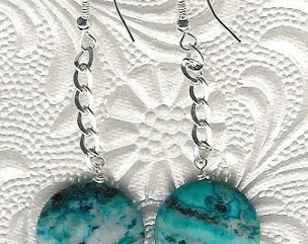 Earrings - Laguna Blue Crazy Lace Agate, Sterling Silver