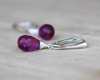 Wire Wrapped Briolette Purple Rhodolite Garnet Earrings in Sterling Silver , January Birthstone , 15th Anniversary , Wedding , Bridal
