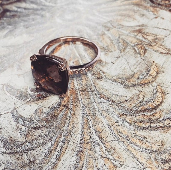 14K Rose Gold Ring With Smoky Quartz And Champagne Diamonds