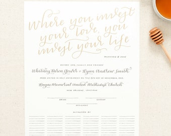 ADD-ON: gold inked quote for marriage certificate / hand lettered Quaker wedding guest book with calligraphy / gift reception