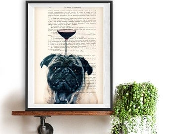 Cool Pug print, Pug art, Dog Artwork, Pug Art Print, Gift for Him, Red, Office Wall Art, Wall Decor, Home Decor