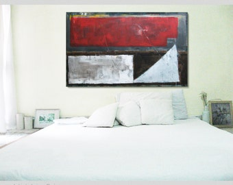 "X Large Abstract painting - Acrylic painting - Modern abstract art Size 60 X 36 X 1.2"" Red Brown White FREE SHIPPING EVERYWHERE"