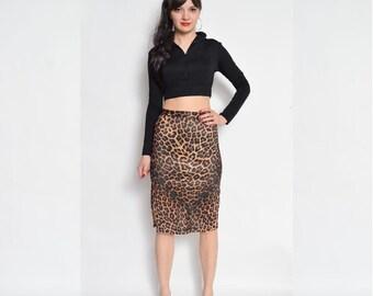 Vintage 90's Leopard Print Skirt / High Waisted Leopard Skirt / High Waisted Midi Skirt / Leopard Pencil Skirt