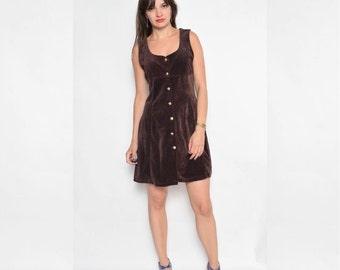 Vintage 90's Brown Velvet Dress / Button Velvet Dress / Sleeveless Mini Dress - Size Small