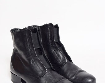 Vintage Black Soft Real Leather Boots