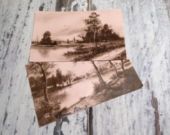 Set of 2 Vintage French Postcards . Vintage Postcard . Landscape Postcard .