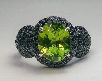 Peridot & Black Spinel Sterling Silver Ring