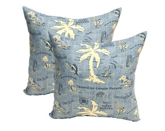 """Set of 2 - 20"""" ~ Tommy Bahama Blue Nautical Map ~ Feather & Down Decorative Throw Pillows"""