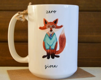 Zero FOX Given Mug - Watercolor Fox with Sweater and Glasses