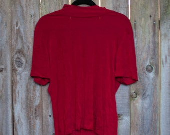 1980s Plus Size Vintage XL Red Stretchy Shirt with Short Turtleneck