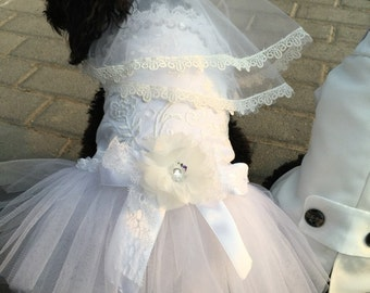 Custom Made Dog wedding dress made of ivory white tulle and Hand cut  flowers details