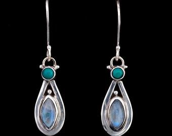 Moonstone Turquoise Silver Earrings: ARABIA