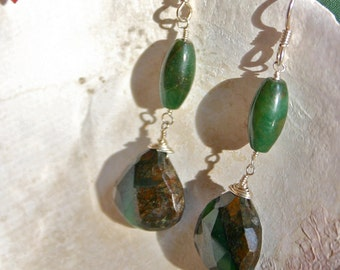 Sterling Silver Jade and Chrysphrase Stone Earrings