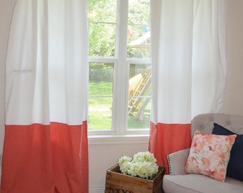 Coral curtains – Etsy