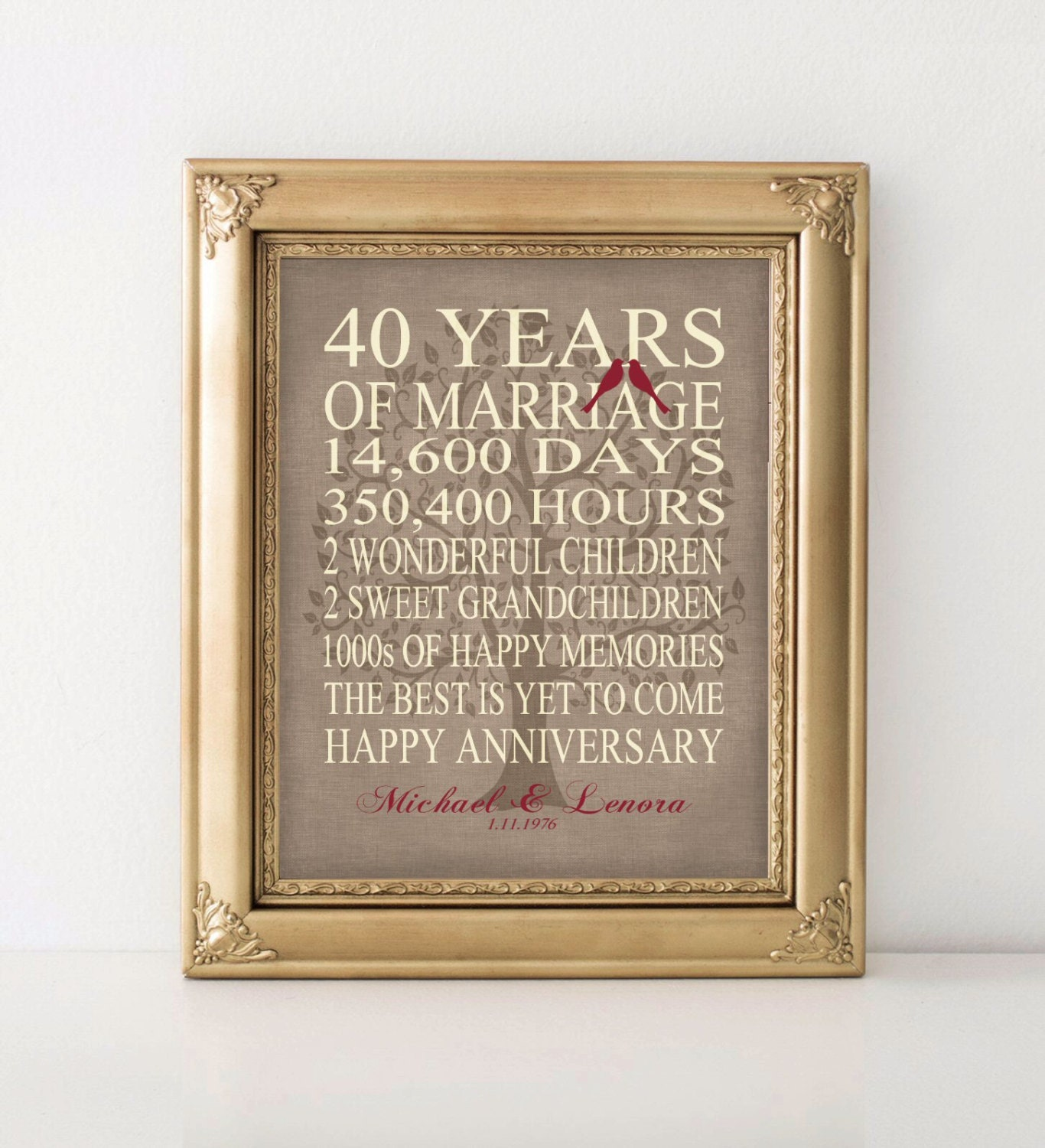 40 Year Wedding Anniversary Gift Ideas: Wedding Anniversary Gift 40th Anniversary Gift Personalized