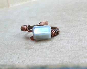 Copper Ring Pearly Gray Wirewrapped Simple Band Metalwork Ring Wirewrapped Jewelry Copper Ring Womens Ring