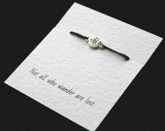 Compass bracelet, unisex bracelet, not all who wander, gift for friend, compass friendship bracelet, cord bracelet, silver compass