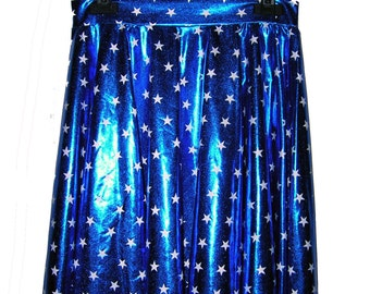 Handmade Holographic 90's Stars Skater Skirt size XS - S - M - L - XL
