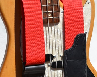 Red Guitar or Bass Strap | Lightweight Red Music Instrument Strap | Mandolin Strap | Stringed Instrument Straps | Children's Guitar Straps