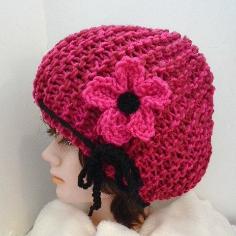 Knitting Pattern For Flowers On Hat : HAT KNITTING PATTERN knit flower pattern boy girl