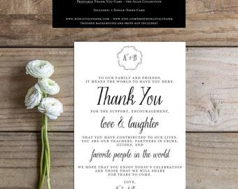 Printable Wedding Thank You Card Sign - the Allie Collection - Wedding Reception Thank You