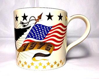Wedgwood Richard Guyatt, Oversize Mug, Bicentennial 1976, Limited Edition, US Independence, American Flag, Stars and Stripes, Bald Eagle