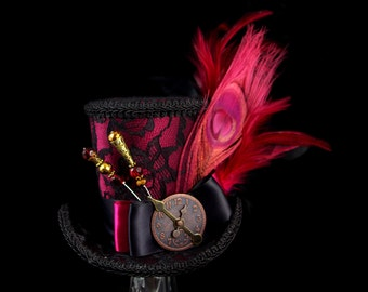 Black Lace over Burgundy Wine Red Large Mini Top Hat Fascinator, Alice in Wonderland, Mad Hatter Tea Party, Derby Hat