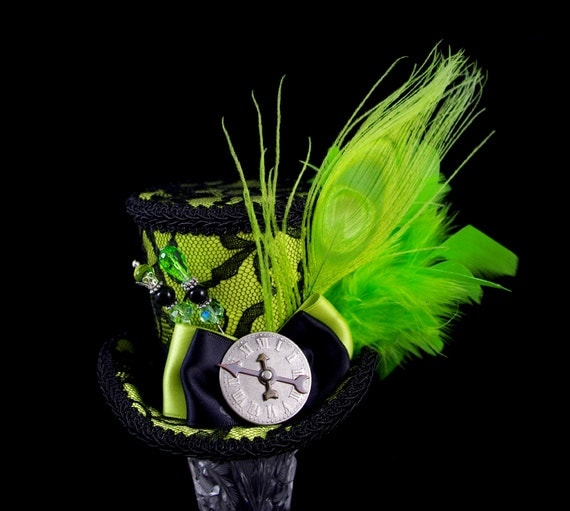 Lime Green and Black Lace Peacock Medium Mini Top Hat Fascinator, Alice in Wonderland, Mad Hatter Tea Party, Derby Hat