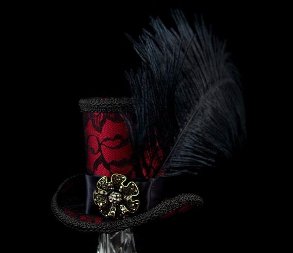Black Lace over Burgundy Red Satin Burlesque Large Mini Top Hat Fascinator, Alice in Wonderland, Mad Hatter Tea Party