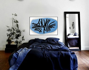 "LARGE 24""x36"" Original Acrylic on Canvas Modern Contemporary Artwork Black White Blue"