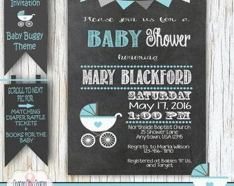 Baby Buggy Shower Chalkboard Invitation, Chalkboard Baby Boy Shower Invitation, Chalkboard Baby Buggy Shower Invitation - BS003